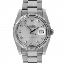 Pre-owned Rolex Mens New Style Datejust Watch - Stainless Steel Custom Silver Diamond Dial & Fluted Bezel On An Oyster Band 116234 Model