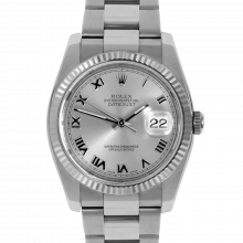 Pre-owned Rolex Mens New Style Datejust Watch - Stainless Steel Silver Roman Dial & Fluted Bezel On An Oyster Band 116234 Model
