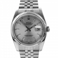 Pre-owned Rolex Mens New Style Datejust Watch - Stainless Steel Silver Stick Dial & Fluted Bezel On A Jubilee Band 116234 Model