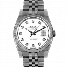 Pre-owned Rolex Men's New Style Datejust Watch - Stainless Steel Custom White Diamond Dial & Fluted Bezel On A Jubilee Band 116234 Model