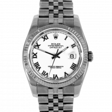 Pre-owned Rolex Mens New Style Datejust Watch - Stainless Steel White Roman Dial & Fluted Bezel On A Jubilee Band 116234 Model