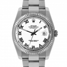 Pre-owned Rolex Mens New Style Datejust Watch - Stainless Steel White Roman Dial & Fluted Bezel On A Oyster Band 116234 Model
