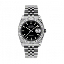 New Rolex Mens New Style Datejust Watch - Stainless Steel Black Index Dial - Diamond Bezel - Jubilee Bracelet 36 MM 116244
