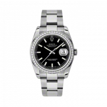 New Rolex Mens New Style Datejust Watch - Stainless Steel Black Index Dial - Diamond Bezel - Oyster Bracelet 36 MM 116244
