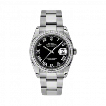 New Rolex Mens New Style Datejust Watch - Stainless Steel Black Roman Dial - Diamond Bezel - Oyster Bracelet 36 MM 116244