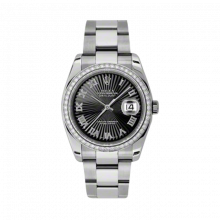 New Rolex Mens New Style Datejust Watch - Stainless Steel Black Sunbeam Roman Dial - Diamond Bezel - Oyster Bracelet 36 MM 116244