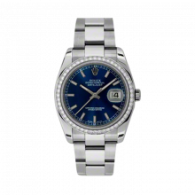 New Rolex Mens New Style Datejust Watch - Stainless Steel Blue Index Dial - Diamond Bezel - Oyster Bracelet 36 MM 116244