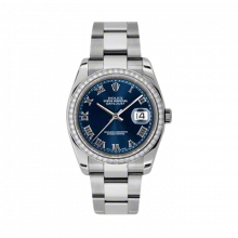 New Rolex Mens New Style Datejust Watch - Stainless Steel Blue Roman Dial - Diamond Bezel - Oyster Bracelet 36 MM 116244