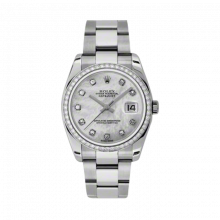New Rolex Mens New Style Datejust Watch - Stainless Steel Mother of Pearl Diamond  Dial - Diamond Bezel - Oyster Bracelet 36 MM 116244