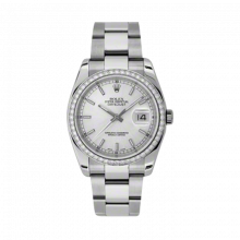 New Rolex Mens New Style Datejust Watch - Stainless Steel Silver Index Dial - Diamond Bezel - Oyster Bracelet 36 MM 116244