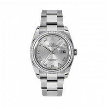 New Rolex Mens New Style Datejust Watch - Stainless Steel Silver Rhodium Roman Dial - Diamond Bezel - Oyster Bracelet 36 MM 116244