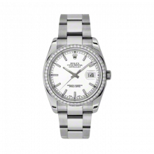 New Rolex Mens New Style Datejust Watch - Stainless Steel White Index Dial - Diamond Bezel - Oyster Bracelet 36 MM 116244
