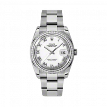 New Rolex Mens New Style Datejust Watch - Stainless Steel White Roman Dial - Diamond Bezel - Oyster Bracelet 36 MM 116244