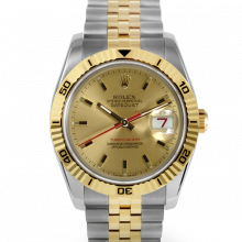 Pre-owned Rolex Mens New Style Datejust Watch - Two Tone Champagne Stick Dial & Thunderbird Bezel On A Jubilee Band 116263 Model