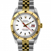 Pre-owned Rolex Mens New Style Datejust Watch - Two Tone Turnograph White Stick Marker Dial On A Jubilee Band Display Model 116263