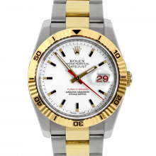 Pre-owned Rolex Mens New Style Datejust Watch - Two Tone Turnograph White Stick Marker Dial On An Oyster Band Display Model 116263