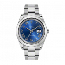Pre-Owned Rolex Mens New Style Datejust II Watch - Stainless Steel  Blue Roman Dial - Domed/ Smooth Bezel - Oyster Bracelet 41 MM 116300