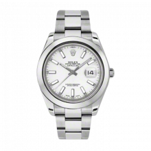 Pre-Owned Rolex Mens New Style Datejust II Watch - Stainless Steel White Index Dial - Domed/ Smooth Bezel - Oyster Bracelet 41 MM 116300