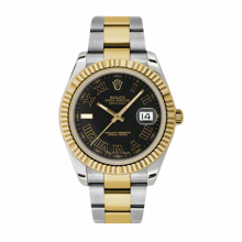 Pre-Owned Rolex Mens New Style Datejust II Watch - 18K Two Tone Yellow Gold  Black Roman and Index Dial - 18K Fluted Bezel - Oyster Bracelet 41 MM 116333