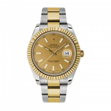 Pre-Owned Rolex Mens New Style Datejust II Watch - 18K Two Tone Yellow Gold  Champagne Index Dial - 18K Fluted Bezel - Oyster Bracelet 41 MM 116333