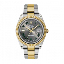 Pre-Owned Rolex Mens New Style Datejust II Watch - 18K Two Tone Yellow Gold  Grey Dial w/ Green Roman Numerals - 18K Fluted Bezel - Oyster Bracelet 41 MM 116333