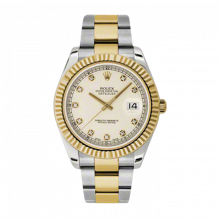 Pre-Owned Rolex Mens New Style Datejust II Watch - 18K Two Tone Yellow Gold  Ivory Diamond Dial - 18K Fluted Bezel - Oyster Bracelet 41 MM 116333 w/ Rolex Box & Papers