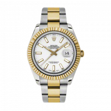Pre-Owned Rolex Mens New Style Datejust II Watch - 18K Two Tone Yellow Gold White Index Dial - 18K Fluted Bezel - Oyster Bracelet 41 MM 116333