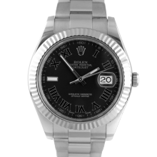 Pre-owned Rolex Mens Stainless Steel Large Datejust II Watch - with Black Roman Dial on Oyster Band - Model 116334