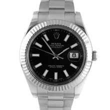 Pre-owned Rolex Mens Stainless Steel Large Datejust II Watch - with Black Stick Dial on Oyster Band - Model 116334