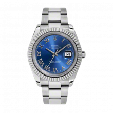 Rolex Mens New Style Datejust II Watch - Stainless Steel  Blue Roman Dial - 18K Fluted Bezel - Oyster Bracelet 41 MM 116334