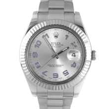 Pre-owned Rolex Mens Stainless Steel Large Datejust II Watch - with Silver Arabic Dial on Oyster Band - Model 116334