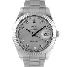 Pre-owned Rolex Mens Stainless Steel Large Datejust II Watch - with Silver Diamond Dial on Oyster Band - Model 116334