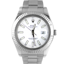 Pre-owned Rolex Mens Stainless Steel Large Datejust II Watch - with White Stick Dial on Oyster Band - Model 116334