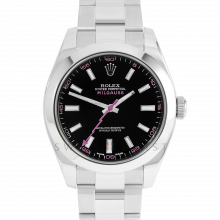Rolex Milgauss 116400 Stainless Steel, Custom Black Dial & Pink Markers	with Smooth Bezel on an Oyster Bracelet - Pre-Owned Watch