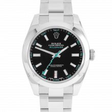 Rolex Milgauss 116400 Stainless Steel, Custom Black Dial & Turquoise Markers with Smooth Bezel on an Oyster Bracelet - Pre-Owned Watch