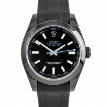Rolex Milgauss 116400 PVD Steel, Custom Black Dial & Blue Markers with Smooth Bezel on a Rubber Strap - Pre-Owned Watch