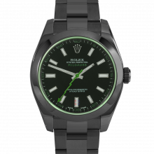 Rolex Milgauss 116400 PVD Steel, Custom Black Dial & Green Markers with Smooth Bezel on an Oyster Bracelet - Pre-Owned Watch
