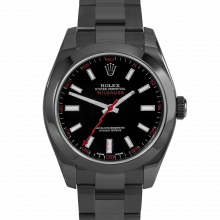 Rolex Milgauss 116400 PVD Steel, Custom Black Dial & Red Markers with Smooth Bezel on an Oyster Bracelet - Pre-Owned Watch