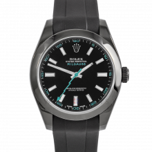 Rolex Milgauss 116400 PVD Steel, Custom Black Dial & Turquoise Markers with Smooth Bezel on a Rubber Strap - Pre-Owned Watch