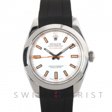 Rolex Milgauss 116400 Stainless Steel, White Dial with Orange Thunderbolt Hand and Markers with Smooth Bezel on a Rubber Strap - Pre-Owned Watch