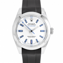 Rolex Milgauss 116400 Stainless Steel, Custom White Dial & Blue Markers	with Smooth Bezel on a Rubber Strap - Pre-Owned Watch