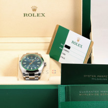 Rolex Milgauss 116400 40mm Stainless Steel, Z-Blue Dial on Oyster Bracelet - Unused Watch w/ Box & Papers
