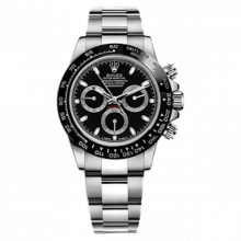 New Rolex Mens Daytona Watch - Stainless Steel Black Dial - Tachymeter Bezel - Oyster Bracelet 40 MM 116500