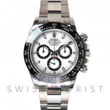 New Rolex Mens Daytona Watch - Stainless Steel White Dial - Tachymeter Bezel - Oyster Bracelet 40 MM 116500
