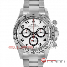 Pre-owned Rolex Mens Daytona Watch - 18K White Gold Silver Arabic Dial 116509 40MM Model
