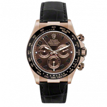 Pre-owned Rolex Mens Daytona Watch - 18K Rose Gold Chocolate Arabic Dial On A Black Leather Strap 116515 Model