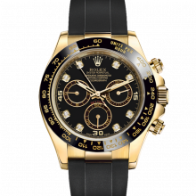 Rolex Daytona 116518 Black Diamond Dial - 18K Yellow Gold - Oysterflex Rubber Strap - UNUSED