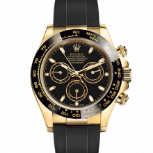 Rolex Daytona 116518 Black Dial 18K Yellow Gold - Oysterflex Rubber Strap - UNUSED