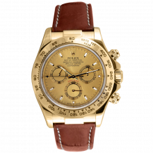 Rolex Mens Daytona 116518 40MM - Yellow Gold - Champagne Dial - On A Brown Leather Strap - Pre-owned