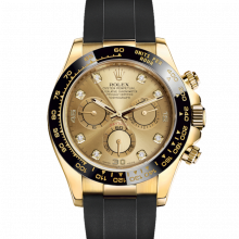 Rolex Daytona 116518 Champagne Diamond Dial - 18K Yellow Gold - Oysterflex Rubber Strap - UNUSED